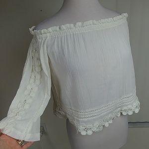 TOPSHOP off shoulder cotton gauze, floral lace top